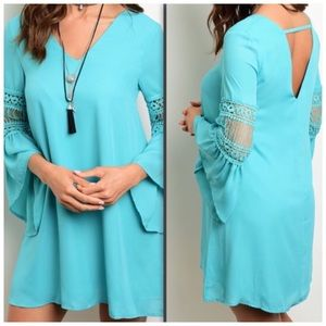 Dress 3/4 Bell Sleeve Crochet Detail Dress